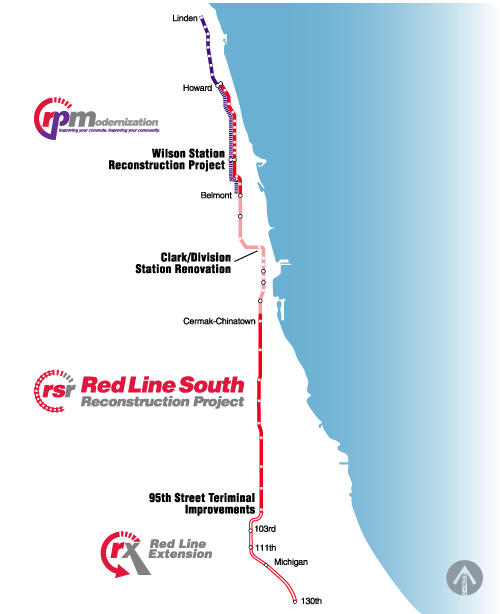 map showing red line and purple line north