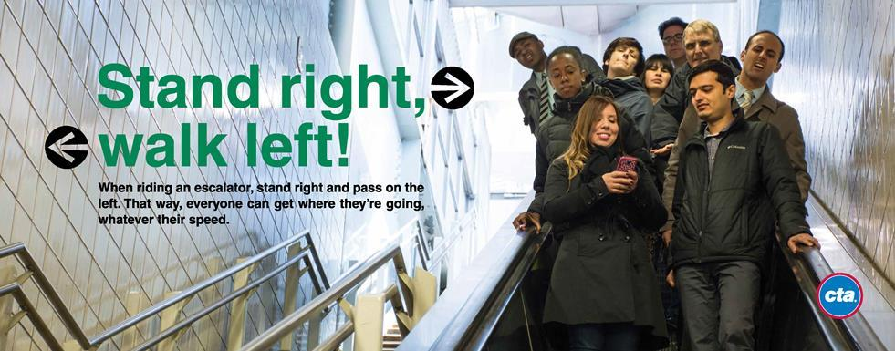 A courtesy campaign ad for escalators (more below on page)