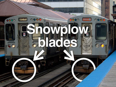 Photo: Snowplow blades at train car ends