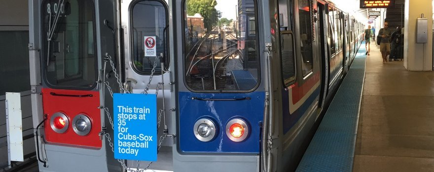 A CTA 2400-series Train for Cubs-Sox Baseball
