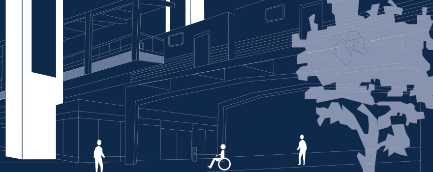 Graphic art of person in wheelchair approaching station with added elevators, highlighted