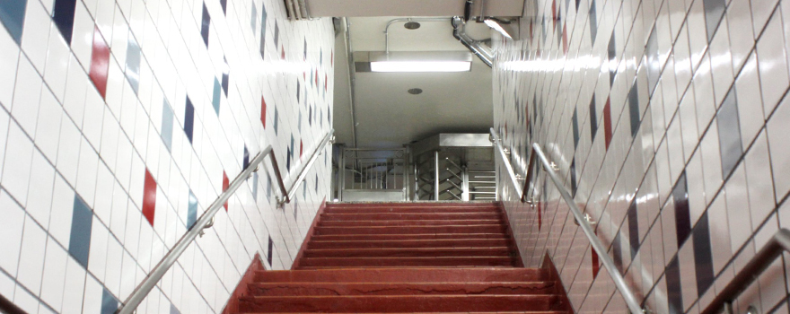 Stairs out of a station